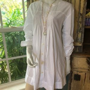 DKNY baby doll white blouse size Small